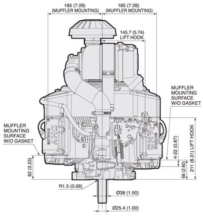 Fx600v Kawasaki Engines 8 Cylinder Ohv Engine Diagram Dimensional Specifications
