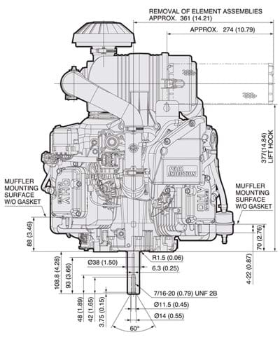 Fx730v Efi Kawasaki Engines Engine Mounting Diagrams Dimensional Specifications